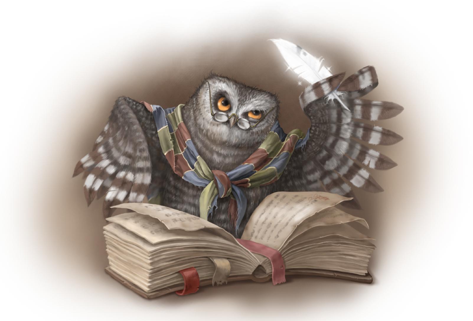 Книги и сова картинка