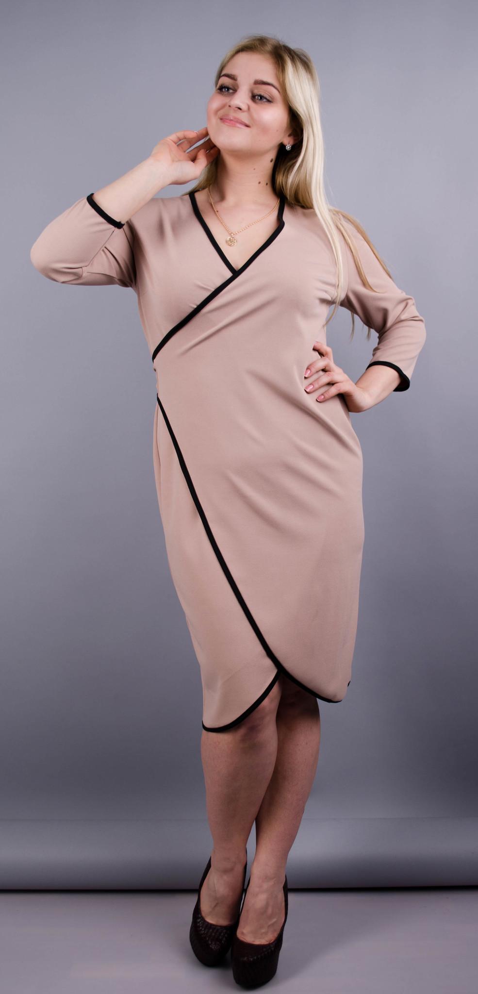 Нателла. Оригінальна сукня великих розмірів. Беж.