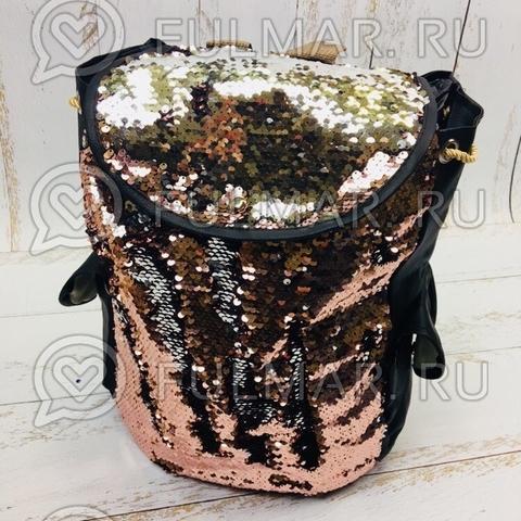Рюкзак-мешок с пайетками розово-серебристый меняющий цвет