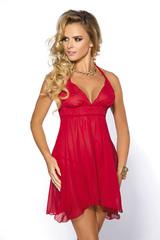 Эротическая сорочка бэби-долл прозрачная красная со стрингами