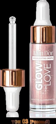 Alvin D`or Жидкий хайлайтер GLOW in LOVE drop 15мл. (тон 03 розовый) HL-03