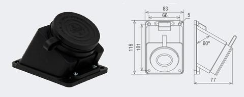 Розетка настенная с загл. наклон. каучук 3Р+РЕ 32А 380В IP44 TDM