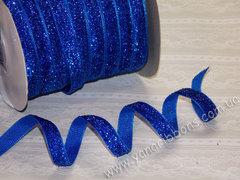 Лента бархатная люрексовая синяя ширина 1 см