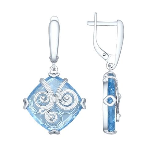 Серьги из серебра с квадратными голубыми ситалами и сканью