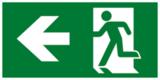 Е32 Направление к эвакуационному выходу налево - современный эвакуационный знак