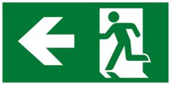 Направление к эвакуационному выходу налево - современный эвакуационный знак
