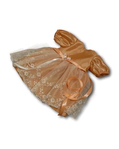 Платье из тафты - Персик. Одежда для кукол, пупсов и мягких игрушек.