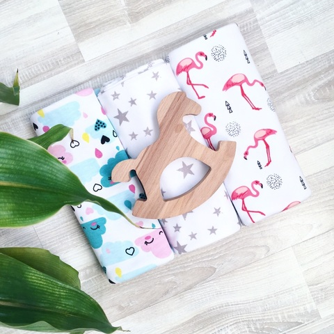 Сет из 3х пелёнок Mjölk  limited series Облачка/Фламинго/Звёзды