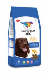 Корм для собак «Счастливый пес» средних пород от 1 года до 7 лет с говядиной
