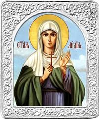 Святая Лидия. Маленькая икона в серебряной раме.