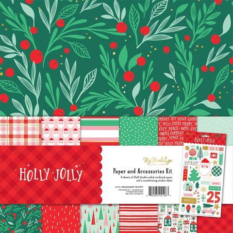 Набор двусторонней бумаги 30х30см My Mind's Eye Paper & Accessories Kit - Holly Jolly