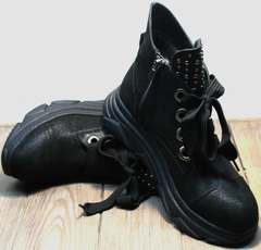 Кожаные сникерсы женские Rifellini Rovigo 525 Black.
