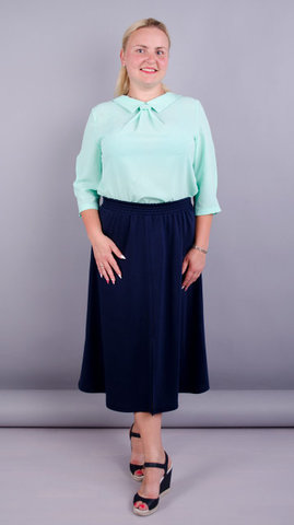 Жаклин. Элегантая юбка плюс сайз. Синий.