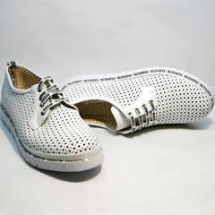 Дерби обувь женская с перфорацией GUERO G177-63 White
