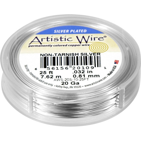 Проволока Artistic Wire 20 Ga (0.812 мм) Non-Tarnish Silver
