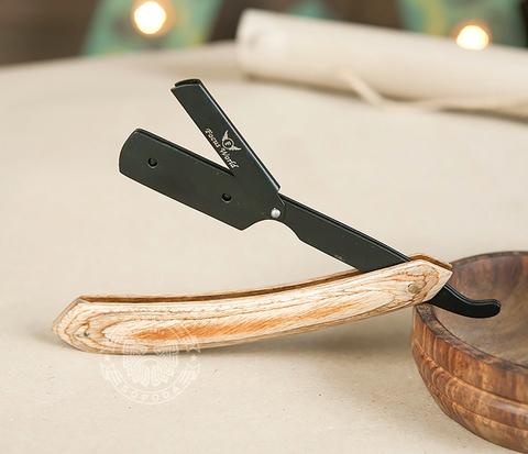RAZ231 Бритва шаветка с деревянной рукояткой и держателем черного цвета