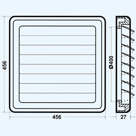Решетка вытяжная с гравитационными жалюзи (460х460, D400) серая Эра 4646К40Ф