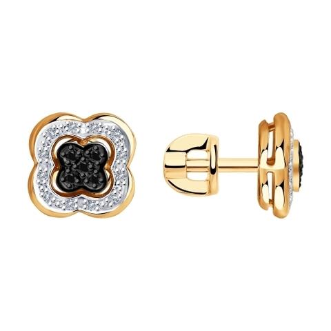 7020058 - Серьги из золота с бесцветными и чёрными бриллиантами