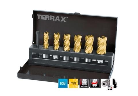 Набор корончатых сверл Terrax(Ruko) Weldon19 HSS-TiN 12-22мм 7шт A108820T