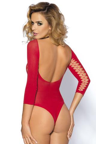 Красное эротическое боди в сеточку с открытой спинкой и длинный рукавом