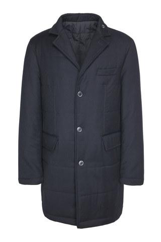 Тёмно-синее пальто из хлопка с добавлением синтетики