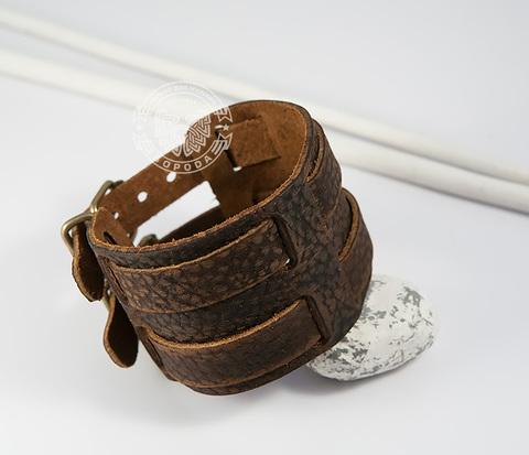BL325 Широкий мужской браслет напульсник из коричневой  натуральной кожи