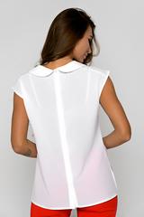 Блузка из легкой, воздушной ткани сделает ваш образ притягательным и незабываемым. Закругленный воротник придает женственность. По спинке застежка на пуговицах.  (Длина: 44-61см; 46-61см; 48-61см; 50-62см; 52-63см; 54-64см)