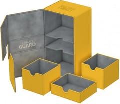 Ultimate Guard - Двойная кожаная янтарная коробочка с отделением для кубиков на 200 карт