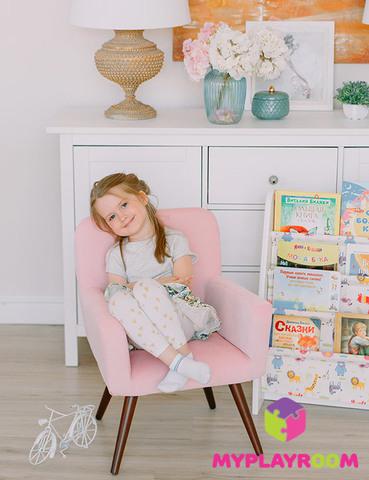 Детское стильное кресло в стиле 60-х, розовое облачко 5