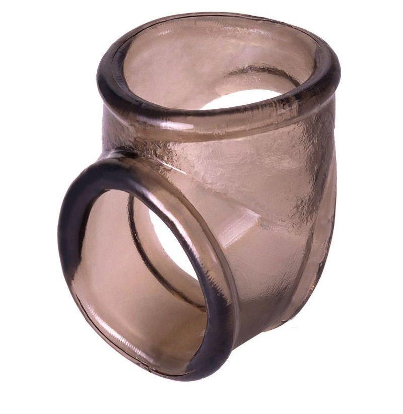 Эрекционные кольца: Дымчатое эрекционное кольцо с фиксацией мошонки