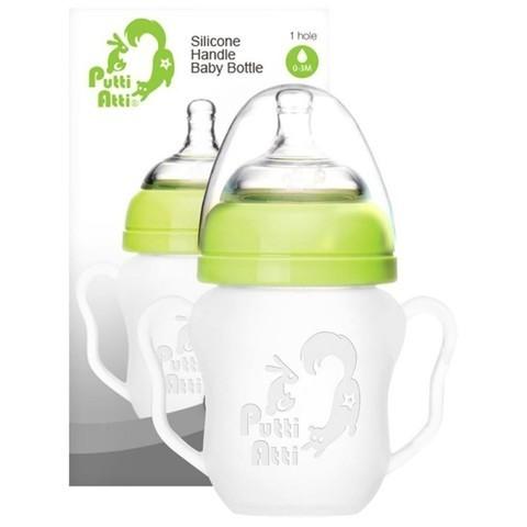 Силиконовая детская бутылочка с ручками Putti Atti 160 мл зеленый