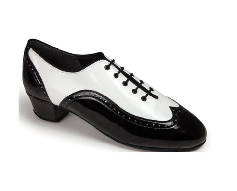 International, BROGUE SPLIT - WHITE PATENT/BLACK PATENT
