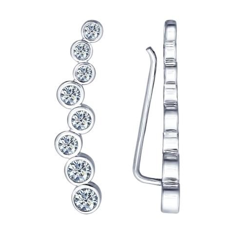 Серьги-зажимы из серебра с фианитами от SOKOLOV