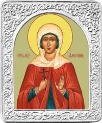 Святая Валентина. Маленькая икона в серебряной раме.
