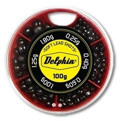 Грузила-дробинки Delphin Soft Lead Shots / 100g - Red box