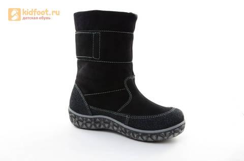 Зимние сапоги для мальчиков Лель из натуральной кожи на натуральном меху, цвет черный. Изображение 2 из 13.