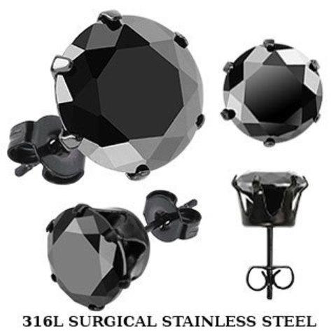 Серьги-гвоздики чёрные 4 мм SPIKES SERDK-4K