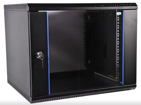Шкаф ЦМО ШРН-Э-18.500-9005 телекоммуникационный настенный разборный 18U (600 × 520) дверь стекло, цвет черный