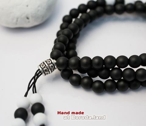 BS515-4 Тройной мужской браслет из шунгита и агата, ручная работа (матовый).