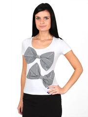 009645 футболка женская, бело-черная
