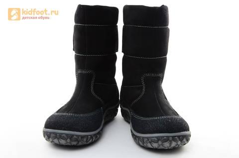 Зимние сапоги для мальчиков Лель из натуральной кожи на натуральном меху, цвет черный. Изображение 4 из 13.