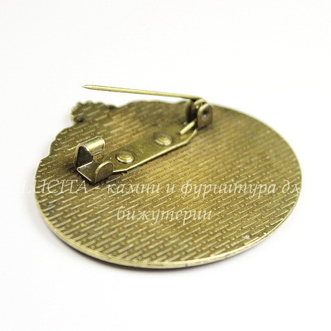 Основа для броши с сеттингом для кабошона 40х30 мм (цвет - античная бронза)