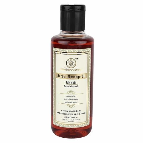 """Массажное масло """"Сандал"""" - без парабенов и минерального масла Khadi Natural, 210 мл"""