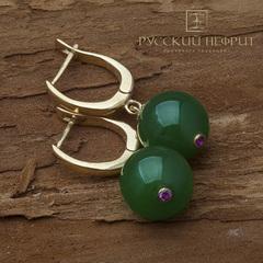 Позолоченные серьги с зелёным нефритом Д 12мм (класс моде) и фианитами.