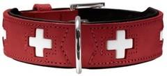Ошейник для собак Hunter Swiss 60 (47-54 см), кожа, красный/черный