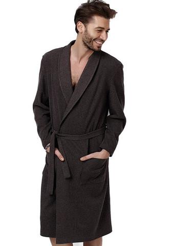 Теплый трикотажный халат для мужчин