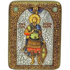 Инкрустированная полуикона Святой мученик Иоанн Воин 20х15см на натуральном дереве, в подарочной коробке