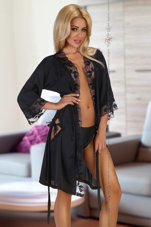Черный пеньюар с вырезами (Короткие халаты)