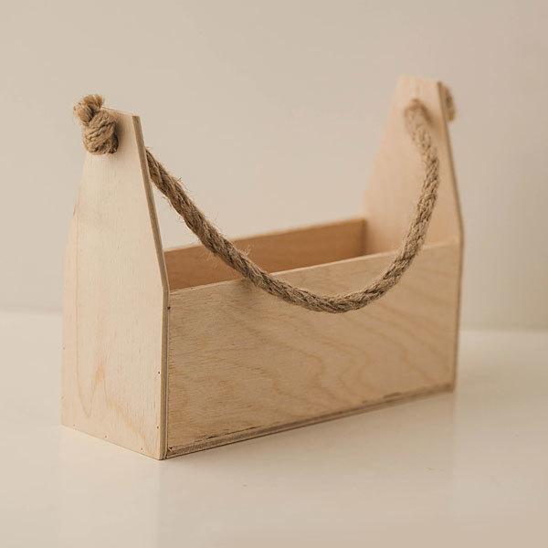 Ящик деревянный подарочный с веревочной ручкой