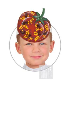 Фото Головной убор - маска Помидор с Верховой росписью рисунок Маски для детского сада: для театрализованных и подвижных игр. Эти уникальные  маски ободки станут незаменимым, а подчас - и единственным элементом костюма!